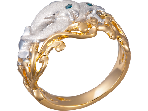 "15mm 14K Two Tone Gold ""Flipping Couple"" Dolphin Ring With Blue Diamonds Eyes"