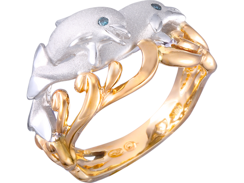 "20mm 14K Two Tone ""Flipping Couple"" Dolphin Ring With 2 Blue Diamonds"