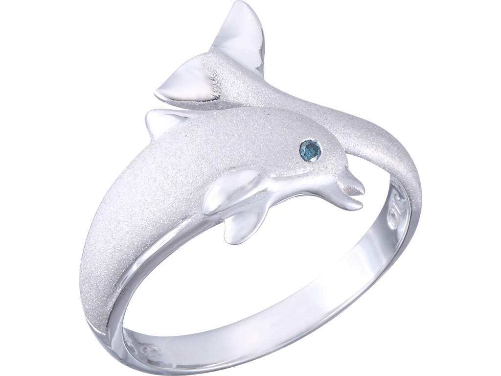 "Denny Wong 20mm 14K White Gold ""Jumping Single"" Dolphin Ring With Blue Diamond"