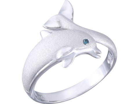 "20mm 14K White Gold ""Jumping Single"" Dolphin Ring With Blue Diamond"
