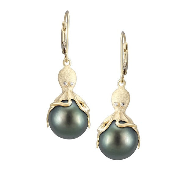 Gold Octopus Earrings With 11mm Tahitian Pearls & Diamonds