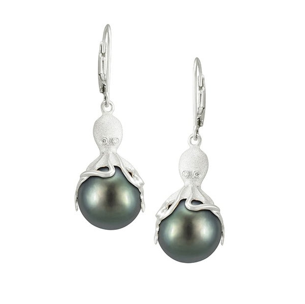 White Gold Octopus Earrings With 11mm Tahitian Pearls & Diamonds