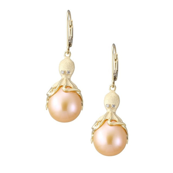 Gold Octopus Earrings With Peach Fresh Water Pearls & Diamonds