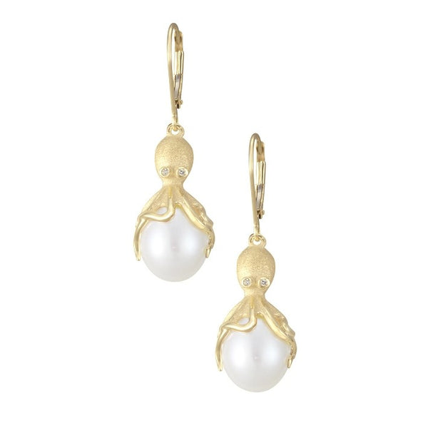 Gold Octopus Earrings With White Fresh Water Pearls & Diamonds