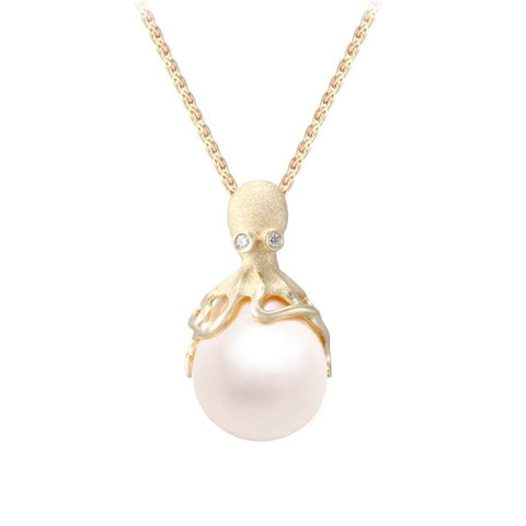 Denny Wong Gold Octopus Pendant With 12mm White Fresh Water Pearl & Diamonds