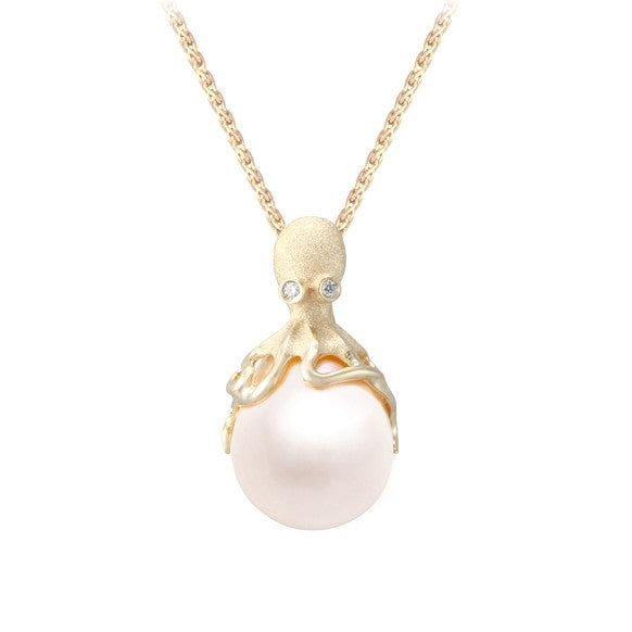 Gold Octopus Pendant With 12mm White Fresh Water Pearl & Diamonds