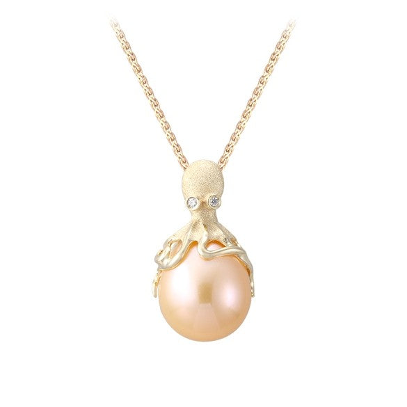 Gold Octopus Pendant With 10mm Peach Fresh Water Pearl & Diamonds