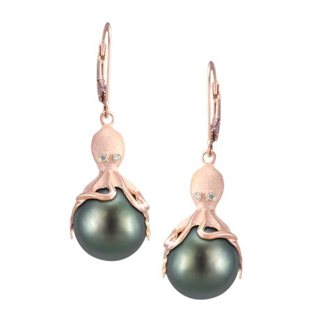Rose Gold Octopus Earrings With 11mm Tahitian Pearls & Diamonds