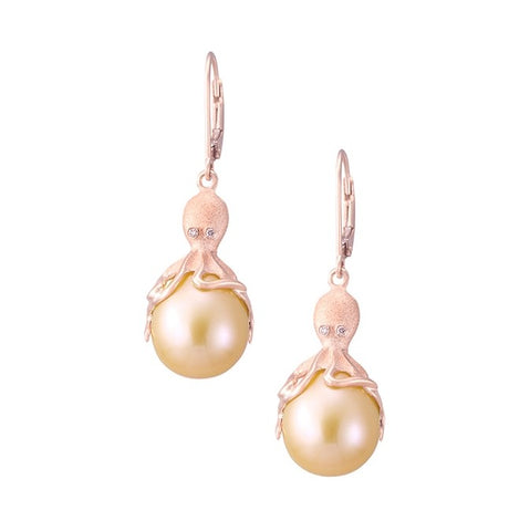 Rose Gold Octopus Earrings With Peach Fresh Water Pearls & Diamonds