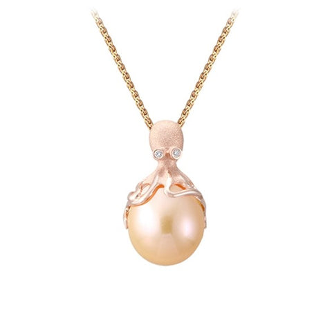 Rose Gold Octopus Pendant With 10mm Peach Freshwater Pearl & Diamonds