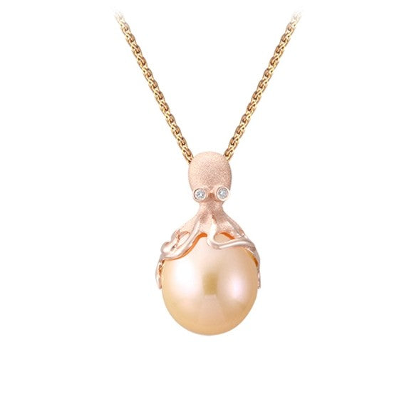 Rose Gold Octopus Pendant With 12mm Peach Fresh Water Pearl & Diamonds