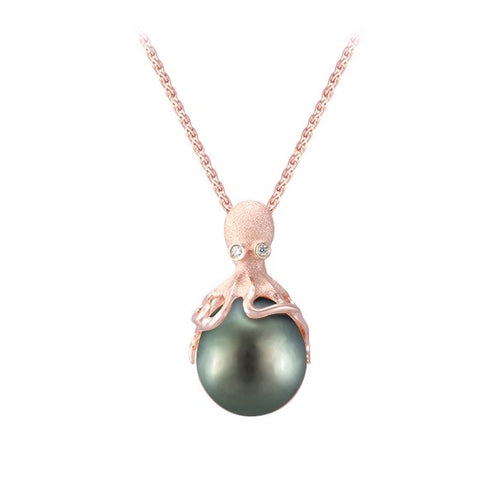 Rose Gold Octopus Pendant With 13mm Tahitian Pearl & Diamonds
