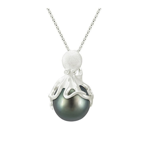 White Gold Octopus Pendant With 13mm Tahitian Pearl & Diamonds