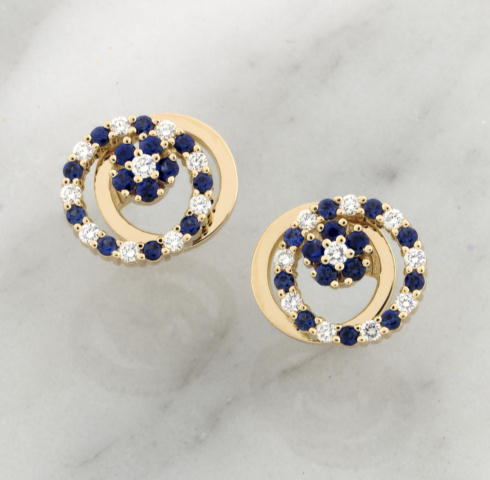14K Yellow Gold 0.28CT Diamond 0.60CT Sapphire Spinner Earrings