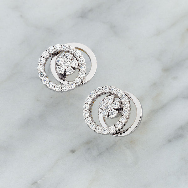 14K White Gold 0.74CT Diamond Spinner Earrings