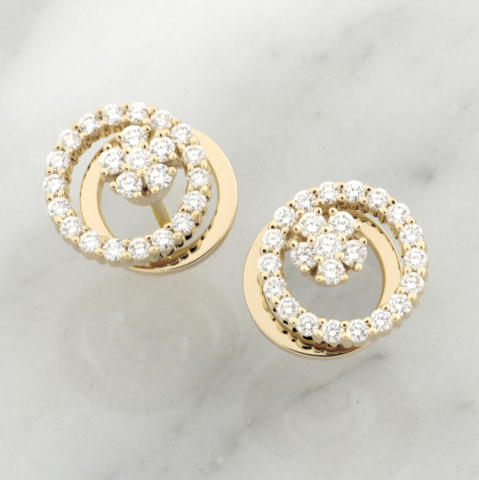 Teufel Yellow Gold Diamond Circle Spinner Earrings