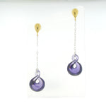 Sterling Silver Purple Zircon Drop Earrings