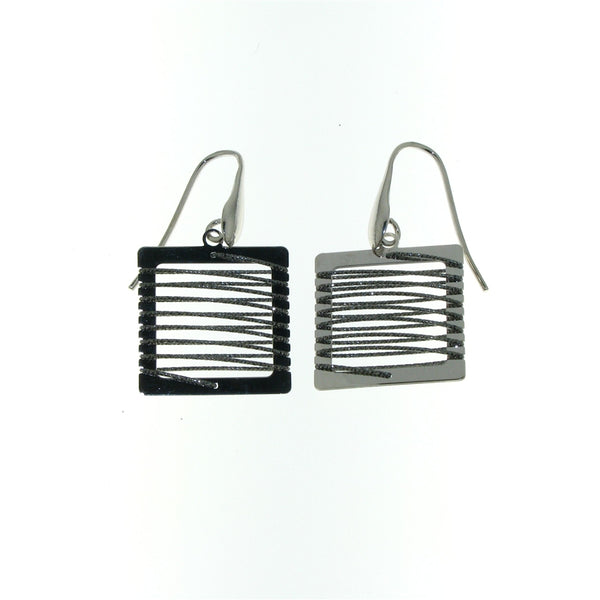 Sterling Silver Square-Shaped Dangle Earrings With A Spiral Glitter Wire Design
