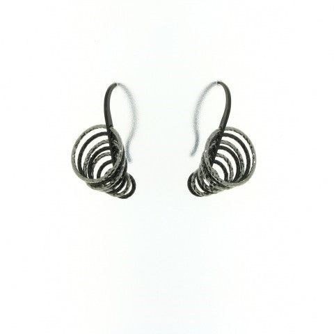 Sterling Silver Black & White Circle Drop Earrings