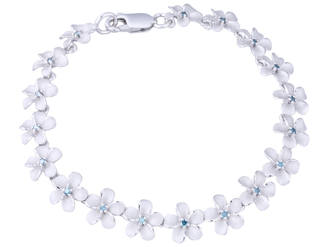 14K White Gold Plumeria Bracelet With 18 Blue Diamonds