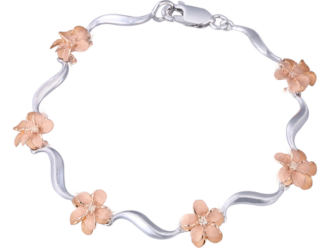 14K Two Tone Plumeria Lei Bracelet With 6 Diamonds