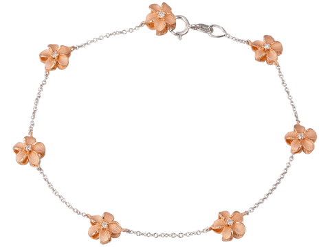 14K Two Tone Plumeria Bracelet With 14 Diamonds
