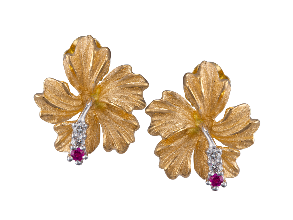 Denny Wong 14K Yellow Gold Hibiscus Earrings