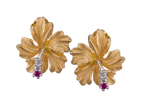 14K Yellow Gold Hibiscus Earrings