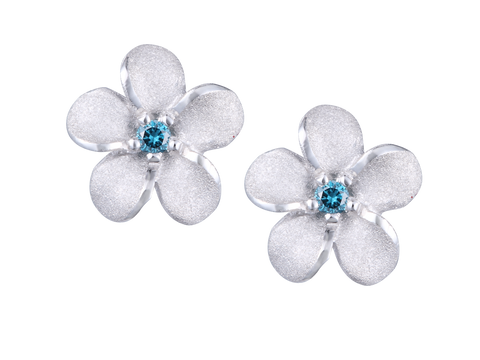 14k White Gold Plumeria Blue Diamond Earrings