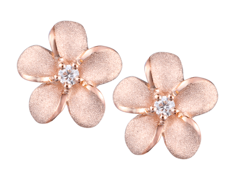 14k Rose Gold Plumeria Diamond Earrings