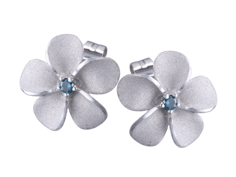 14k Plumeria Earrings with Blue Diamonds