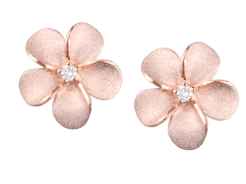 14k Rose Gold Plumeria Diamond Rose Gold Earrings