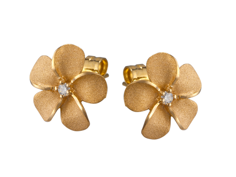 14K Yellow Gold Plumeria Earrings With 2 Diamonds