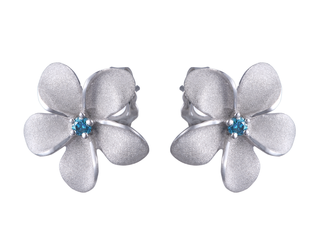 Denny Wong 14k White Gold Plumeria Earrings with Blue Diamonds