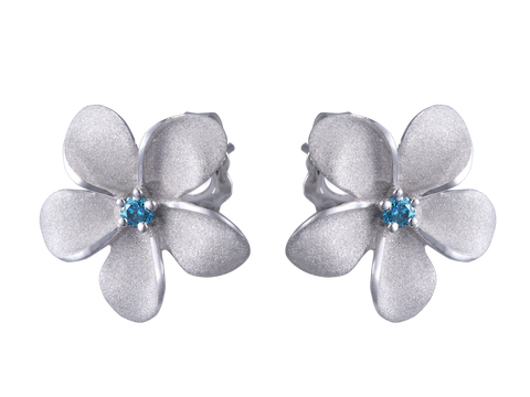 14k White Gold Plumeria Earrings with Blue Diamonds