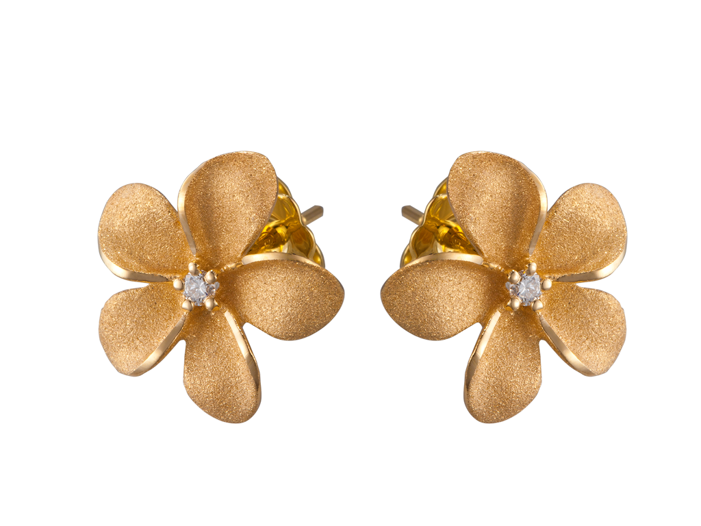 Denny Wong 14k Plumeria Earrings with 2 Diamonds