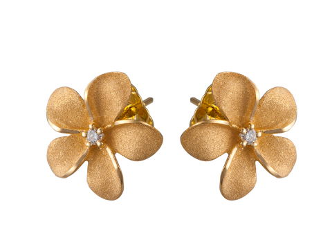 14k Plumeria Earrings with 2 Diamonds