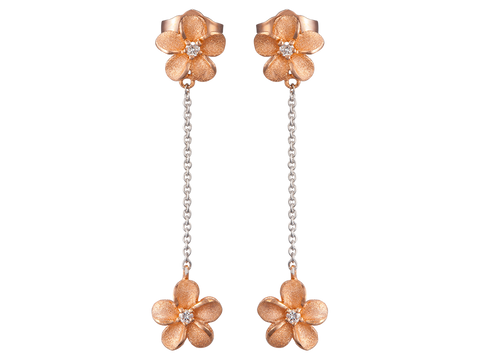 14K Two Tone Plumeria Earrings With 6 Diamonds