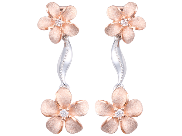 14K Two Tone Plumeria Lei Earrings With 4 Diamonds