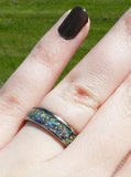 Black Fire and Ice Opal Titanium Ring