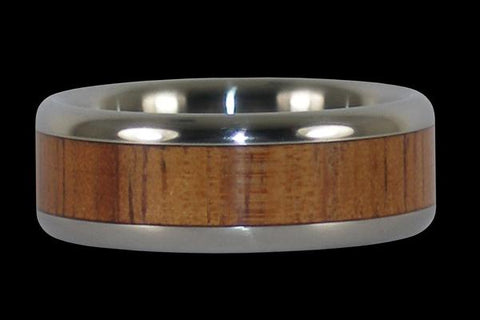Hawaiian Fire Koa Titanium Ring Band