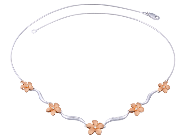 14K Two Tone Plumeria Lei Necklace With 5 Diamonds