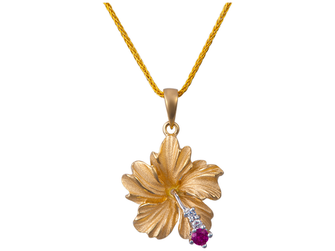 14K Yellow GoldHibiscus Pendant With 2 Diamonds and 1 Ruby