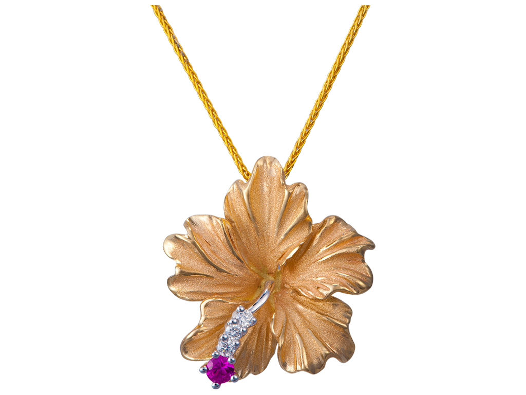 Denny Wong 14K Yellow Gold Hibiscus Pendant With 3 Diamonds