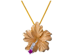 14K Yellow Gold Hibiscus Pendant With 3 Diamonds
