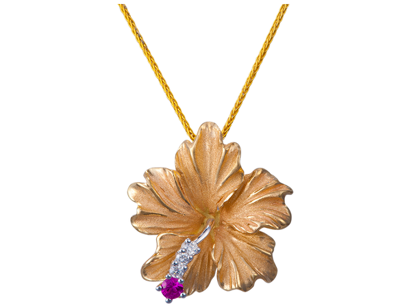 14K Hibiscus Pendant With 3 Diamonds