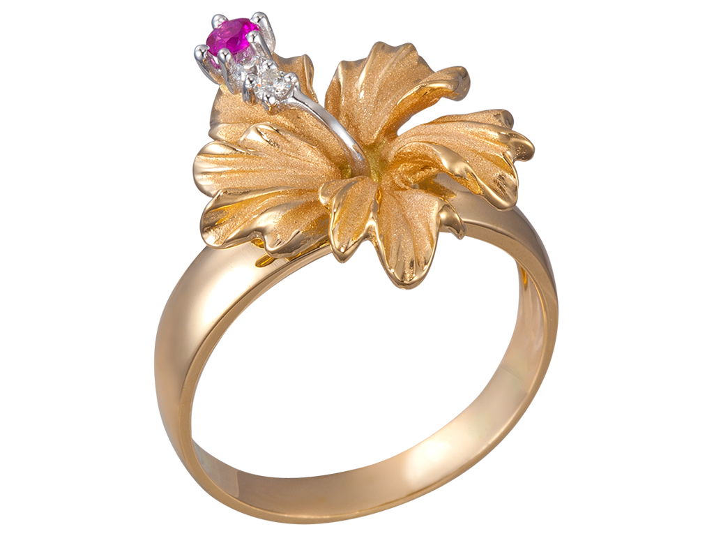 Denny Wong 14K Yellow Gold Hibiscus Ring With 2 Diamonds