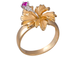14K Yellow Gold Hibiscus Ring With 2 Diamonds