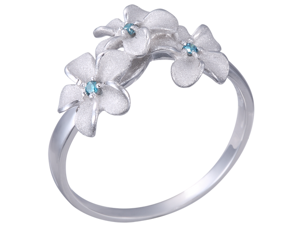 14k White Gold Plumeria Ring with 3 Blue Diamonds
