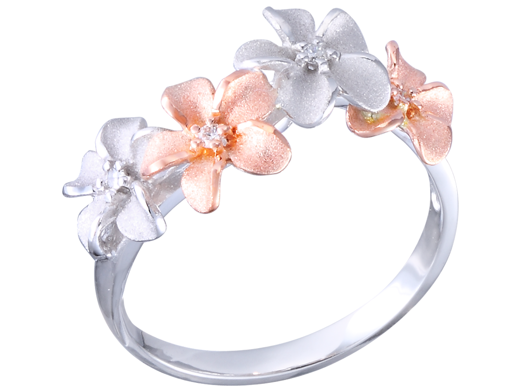 Plumeria White and Pink Ring
